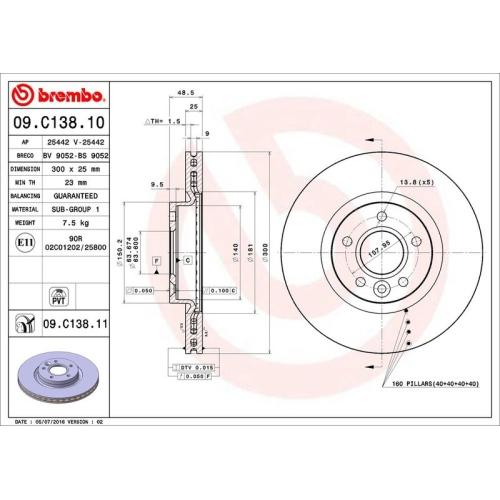 Bremsscheibe BREMBO 09.C138.11 COATED DISC LINE VOLVO