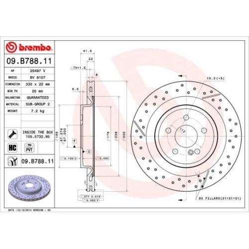 Bremsscheibe BREMBO 09.B788.11 COATED DISC LINE MERCEDES-BENZ