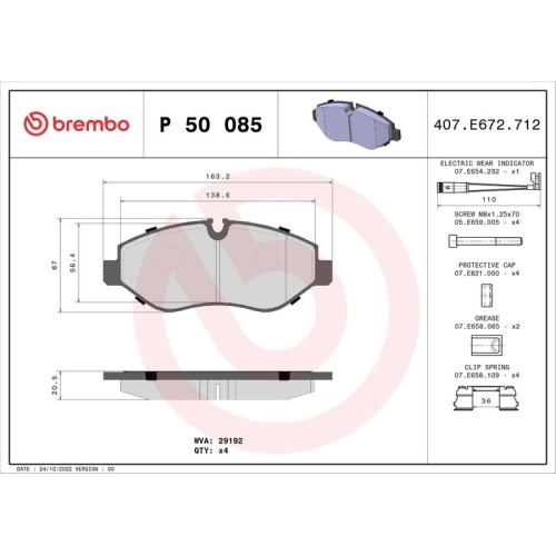 BREMBO Brake Pad Set, disc brake P 50 085