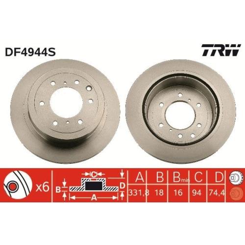 TRW Brake Disc DF4944S