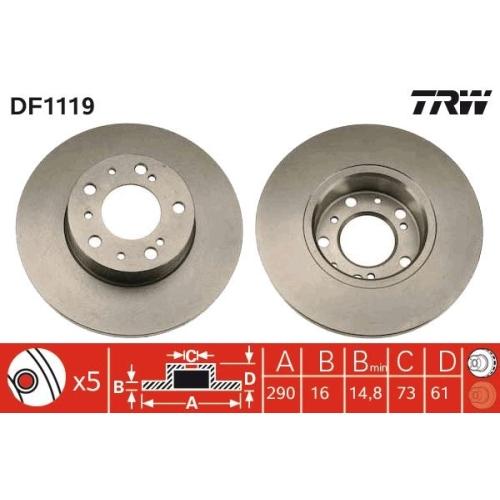 Brake Disc TRW DF1119 CITROËN FIAT PEUGEOT