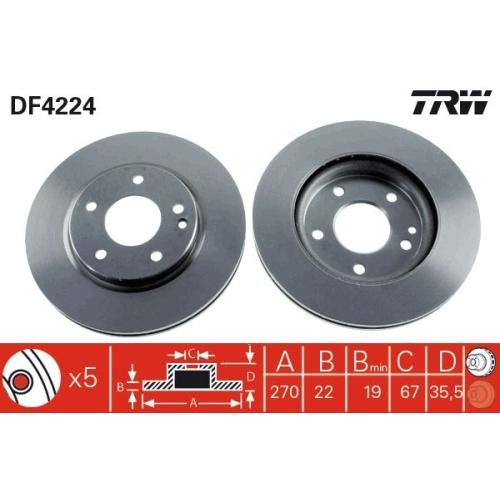 TRW Brake Disc DF4224