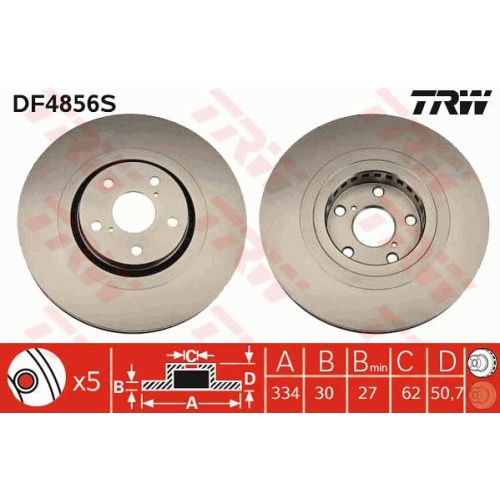Brake Disc TRW DF4856S TOYOTA LEXUS