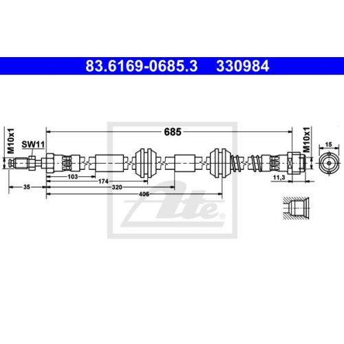 Brake Hose ATE 83.6169-0685.3 VAG