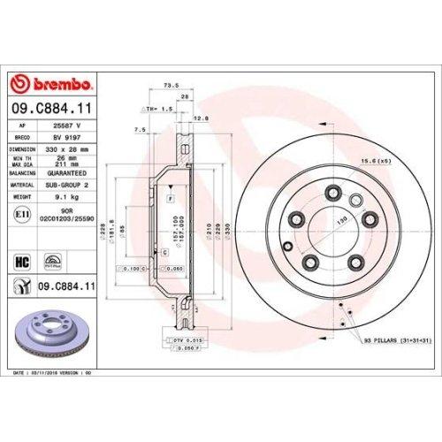 Bremsscheibe BREMBO 09.C884.11 COATED DISC LINE AUDI PORSCHE VW