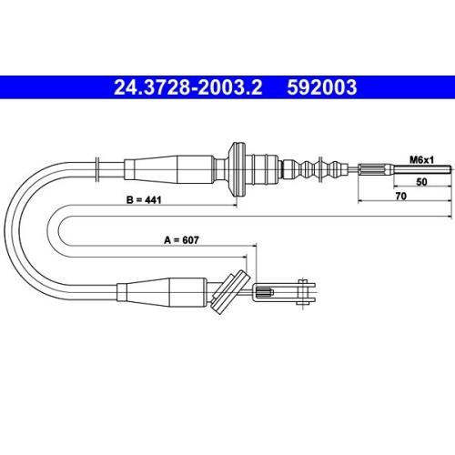 Seilzug, Kupplungsbetätigung ATE 24.3728-2003.2 SUZUKI