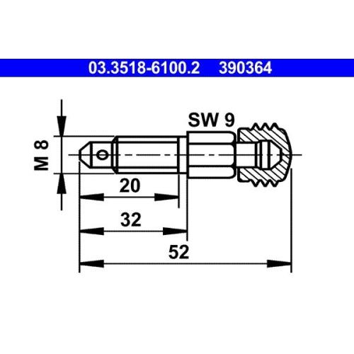 Entlüfterschraube/-ventil ATE 03.3518-6100.2 ALFA ROMEO BMW MERCEDES-BENZ TALBOT