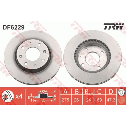 Brake Disc TRW DF6229 KIA