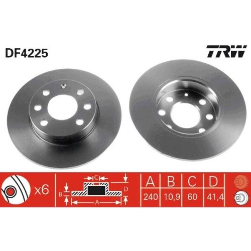 Brake Disc TRW DF4225 OPEL VAUXHALL
