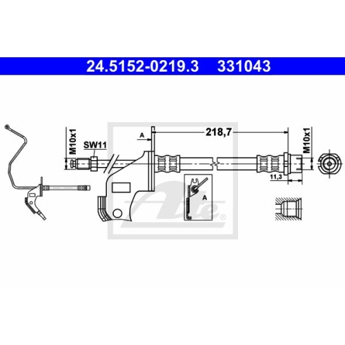 Brake Hose ATE 24.5152-0219.3 OPEL VAUXHALL