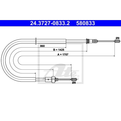 ATE Cable, parking brake 24.3727-0833.2