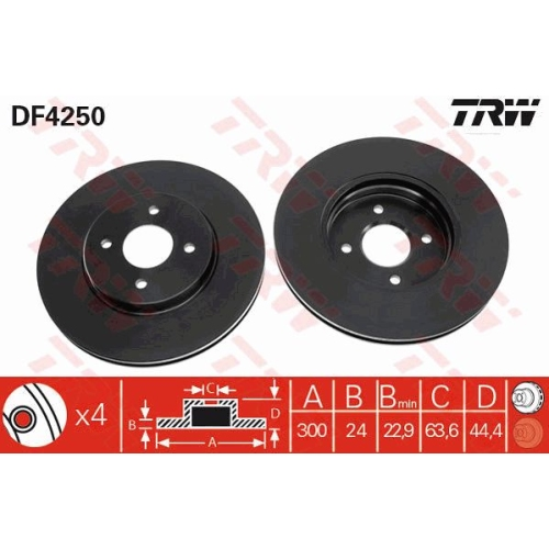 Brake Disc TRW DF4250 FORD