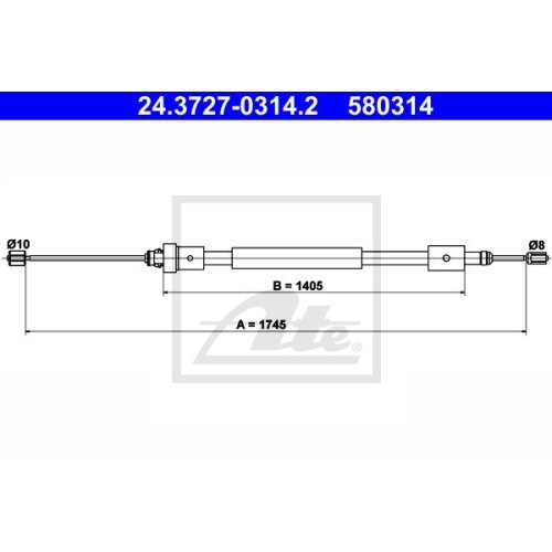 ATE Cable, parking brake 24.3727-0314.2
