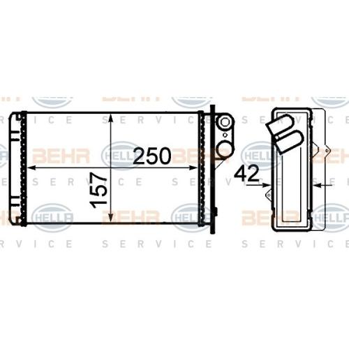 Heat Exchanger, interior heating HELLA 8FH 351 308-551 RENAULT