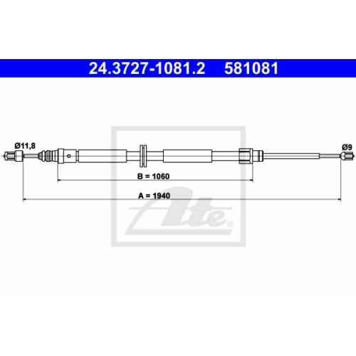 ATE Cable, parking brake 24.3727-1081.2