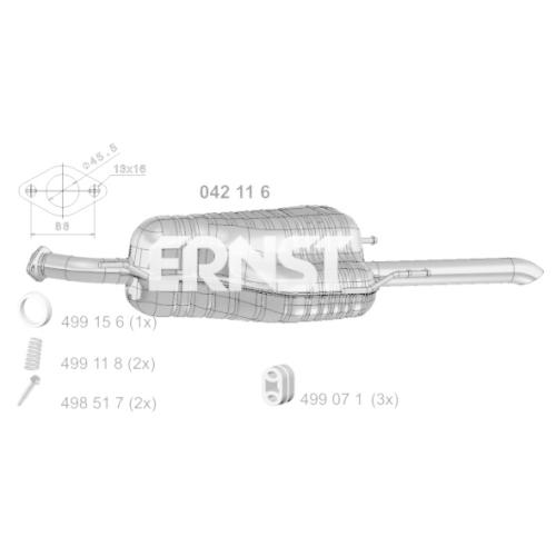 mm Länge Auspuff Endschalldämpfer Auspuffanlage Endtopf NEU ERNST 042116