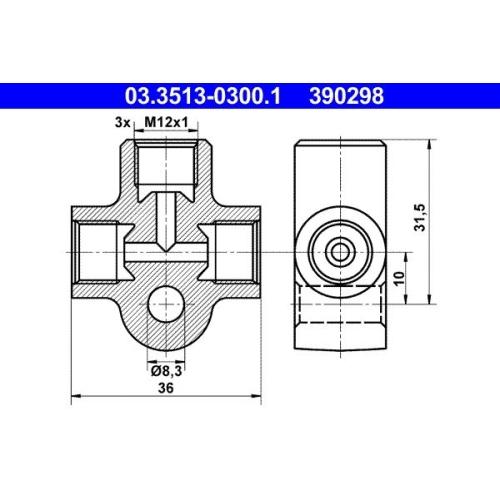 Verbindungs-/Verteilerstück, Rohrleitungen ATE 03.3513-0300.1 BUESSING HANOMAG
