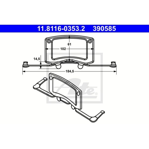 ATE Spring, brake caliper 11.8116-0353.2