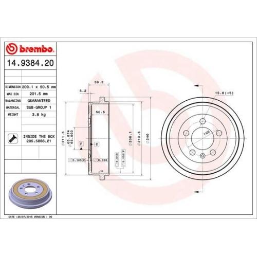 BREMBO Bremstrommel 14.9384.20