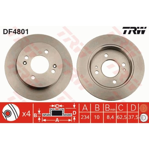 Brake Disc TRW DF4801 HYUNDAI KIA