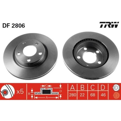 Brake Disc TRW DF2806 AUDI SEAT VW