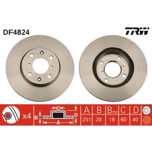 Brake Disc TRW DF4824 OPEL SUZUKI VAUXHALL
