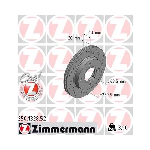 Brake Disc ZIMMERMANN 250.1328.52 SPORT BRAKE DISC COAT Z FORD
