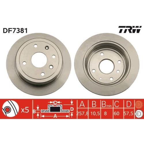Brake Disc TRW DF7381 CHEVROLET DAEWOO GENERAL MOTORS SGM SAAB