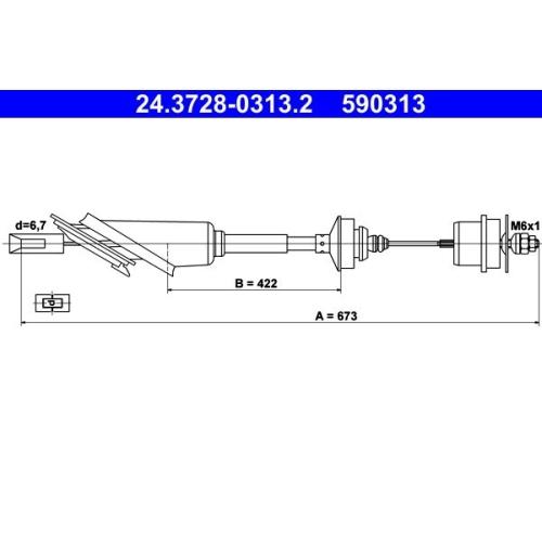 Clutch Cable ATE 24.3728-0313.2 CITROËN