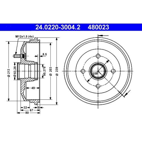 Bremstrommel ATE 24.0220-3004.2 FORD
