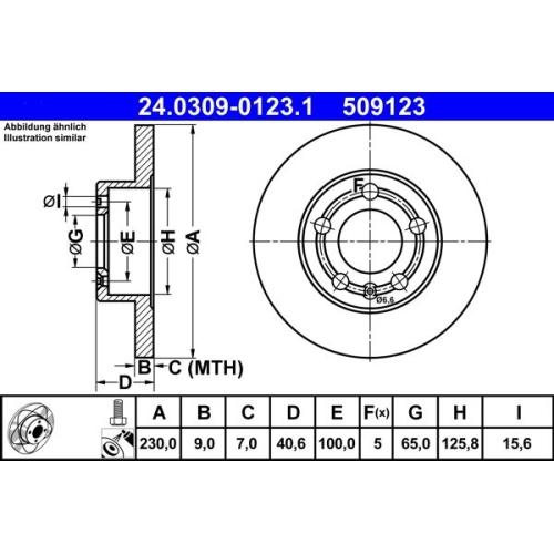 Bremsscheibe ATE 24.0309-0123.1 PowerDisc SEAT SKODA VAG