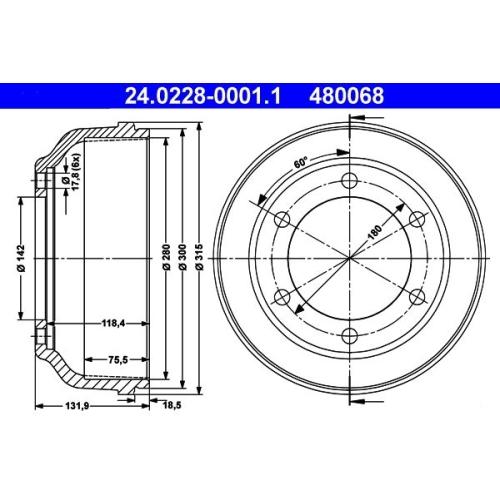 Brake Drum ATE 24.0228-0001.1 FORD