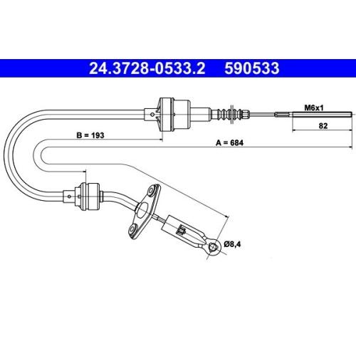 Seilzug, Kupplungsbetätigung ATE 24.3728-0533.2 FIAT
