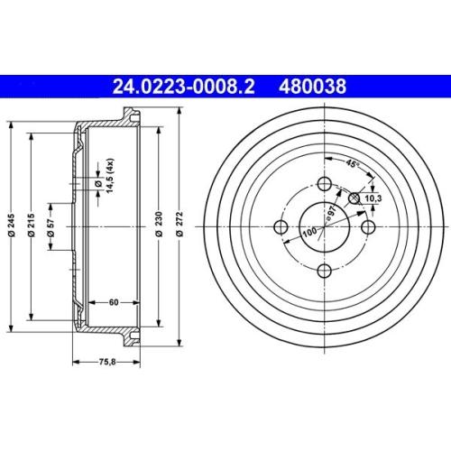 Bremstrommel ATE 24.0223-0008.2 OPEL VAUXHALL