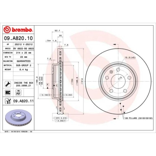 Bremsscheibe BREMBO 09.A820.11 COATED DISC LINE AUDI