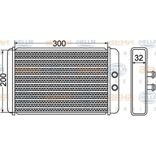 Heat Exchanger, interior heating HELLA 8FH 351 308-261 CITROËN FIAT