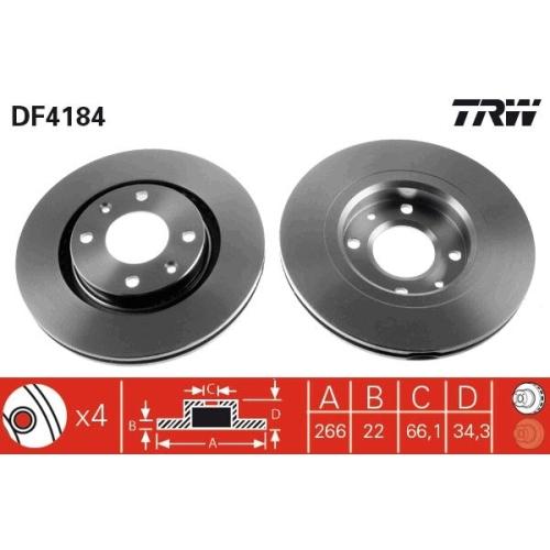 Brake Disc TRW DF4184 CITROËN OPEL PEUGEOT VAUXHALL DONGFENG DS