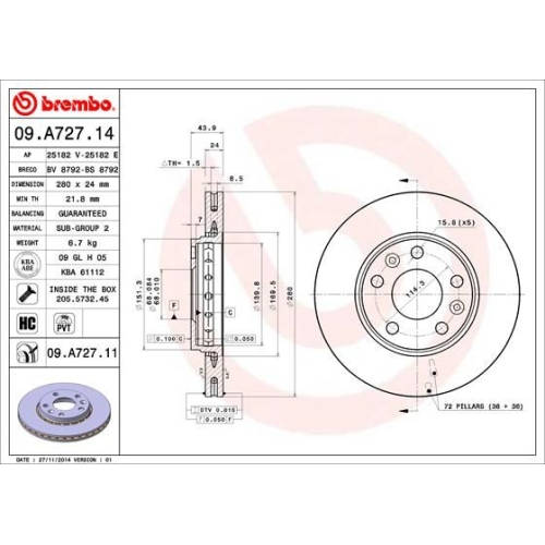 Bremsscheibe BREMBO 09.A727.11 COATED DISC LINE NISSAN RENAULT DACIA
