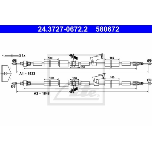 ATE Cable, parking brake 24.3727-0672.2