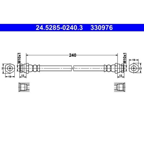 Brake Hose ATE 24.5285-0240.3 KIA