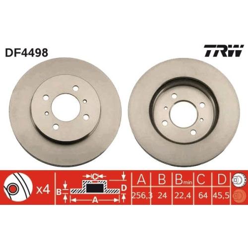 Brake Disc TRW DF4498 MITSUBISHI PROTON