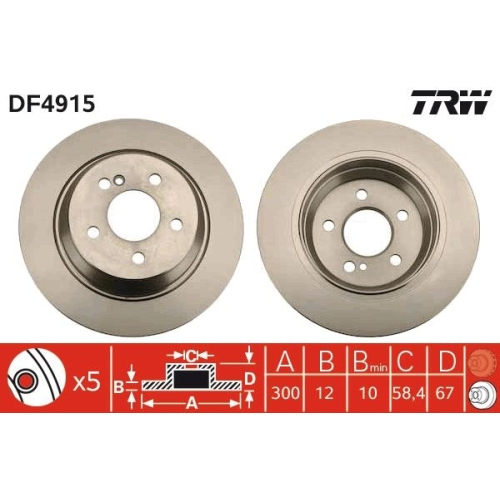 Brake Disc TRW DF4915 MERCEDES-BENZ