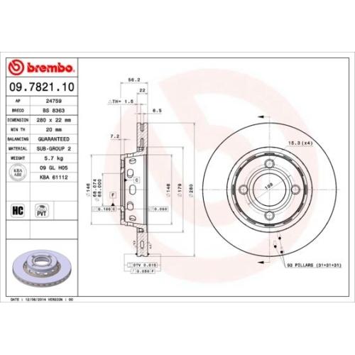 Brake Disc BREMBO 09.7821.10 AUDI