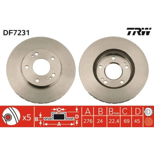 Brake Disc TRW DF7231 MITSUBISHI