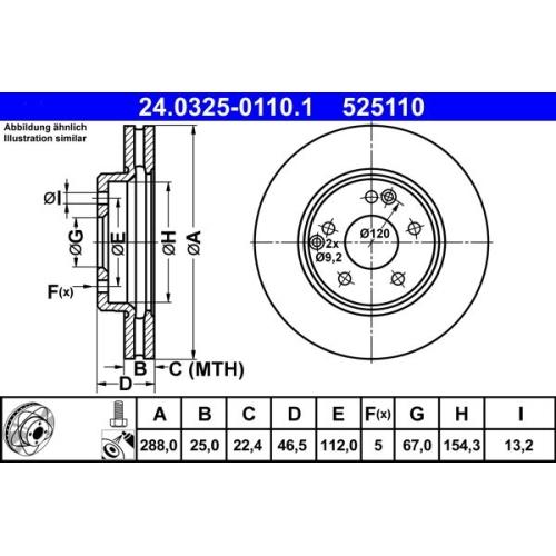 Brake Disc ATE 24.0325-0110.1 PowerDisc MERCEDES-BENZ