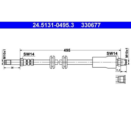 Brake Hose ATE 24.5131-0495.3 MERCEDES-BENZ