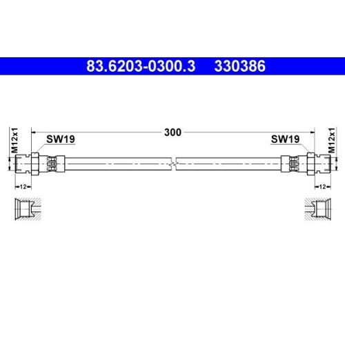 Brake Hose ATE 83.6203-0300.3 HANOMAG MERCEDES-BENZ