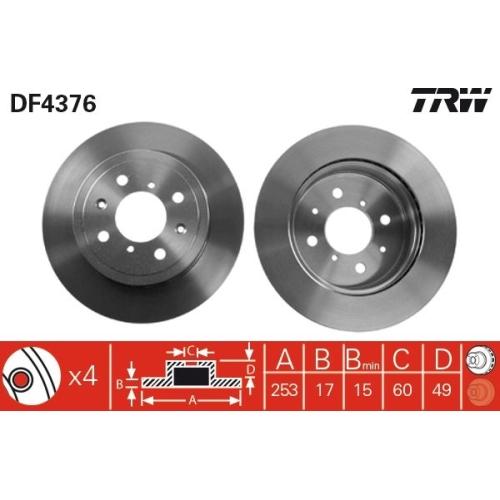 Brake Disc TRW DF4376 OPEL SUBARU SUZUKI VAUXHALL