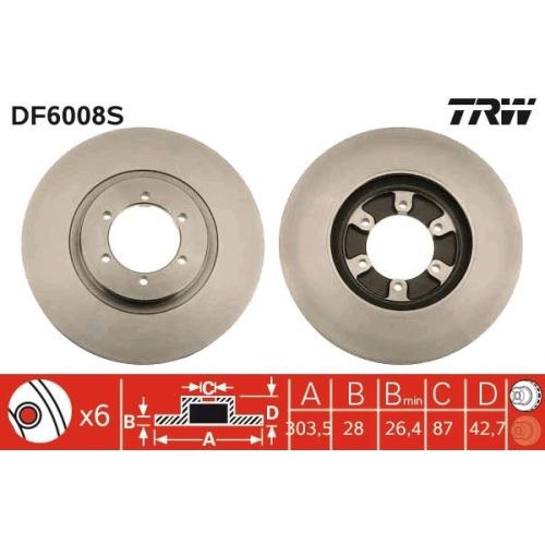 Brake Disc TRW DF6008S HYUNDAI