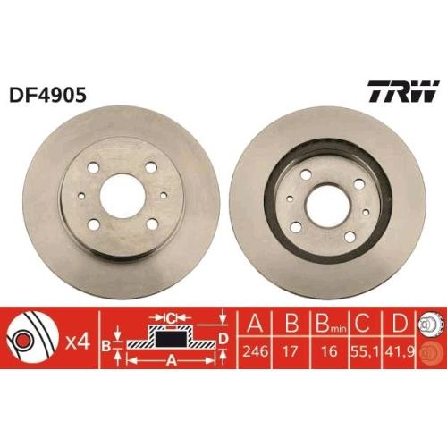 TRW Brake Disc DF4905